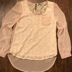 BLU PEPPER Pink & Cream Lace Dress Shirt